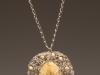 Pendant - Crochet, wood beads, artificial pearl bead, porcelain glazed stone