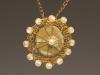 Pendant - Crochet, artificial pearls, stoneware glazed stone, crochet chain,