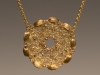Pendant - Crochet, brass, glass beads,