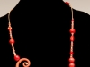 Pendant - Porcelain, underglazed, wood and sterling beads, leather cord,