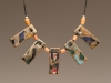 Pendant - Porcelain, wood beads, leather cord,