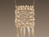 Pendant - Crochet, silver wire, mother of pearl carved leafs, artificial pearl beads,