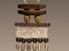 Pendant - Crochet, exotic wood beads and elements, silver plated leafs, silver plated chain,