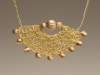 Pendant - Crochet, brass wire, brass beads, crochet chain,