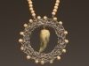 Pendant - Crochet, wood beads, porcelain glazed stone,