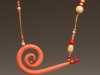 Pendant - Porcelain, underglazed, wood - some hand painted beads, leather cord,